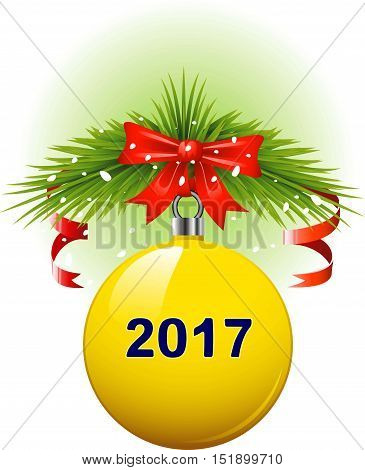 Vector Yellow Christmas ball 2017. Isolated on white