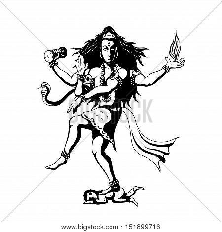 Nataraja black and white sillhouette illustration of dancing indian God Shiva
