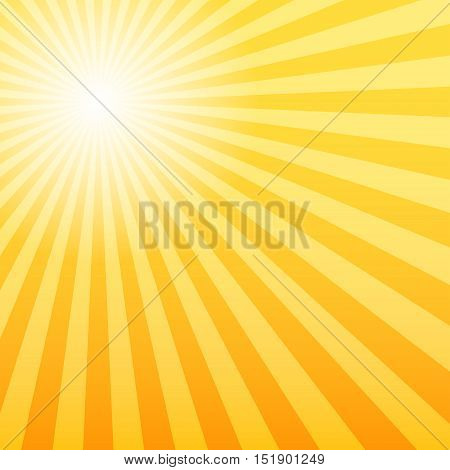 Sunray background with the light source offset 3d vector illustration orange color of background eps 10