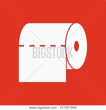 The toilet paper icon. Towel and  closet, restroom, bathroom symbol. Flat Vector illustration