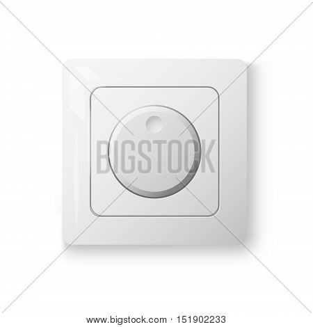 Dimmer power switch realistic 3d illustration white color 3d vector object on white wall isolated device eps 10
