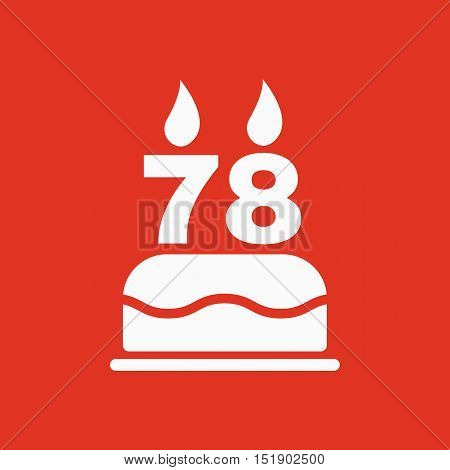 The birthday cake with candles in the form of number 78 icon. Birthday symbol. Flat Vector illustration