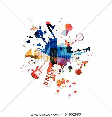 Music template vector illustration, music instruments background, guitar, piano keyboard, french horn, saxophone, trumpet, violoncello, contrabass, banjo, traditional Portuguese guitar, bouzouki