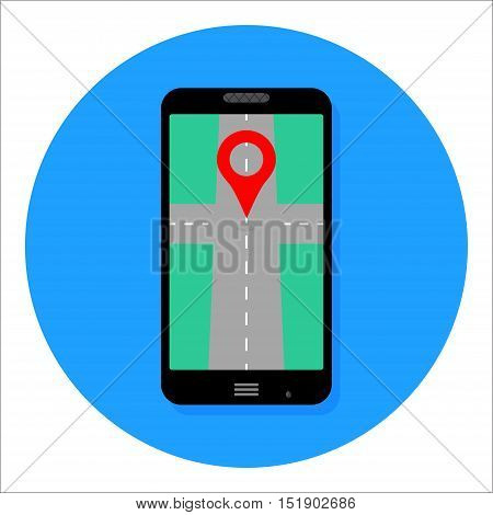 GPS app icon for smartphone. Map icon location and gps navigation vector illustration
