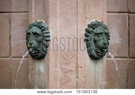 Gargoyle of a fountain, detail, close up