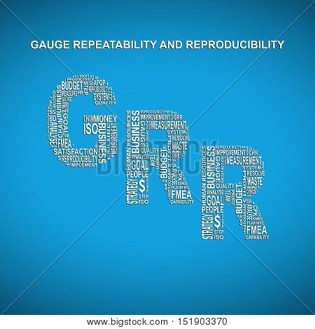 Gauge repeatability and reproducibility diagonal typography background. Blue background with main title GRR filled by other words related with gauge repeatability and reproducibility method