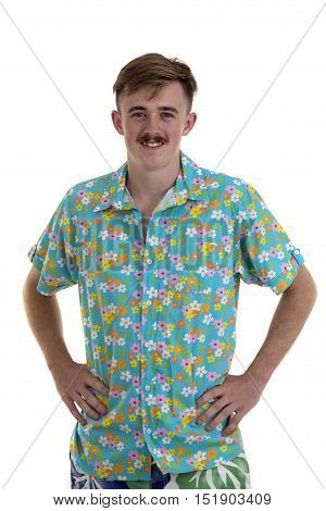 Portrait Of A Smiling American Man In Hawaii Shirt Isolated On A White Background And Looking At Cam