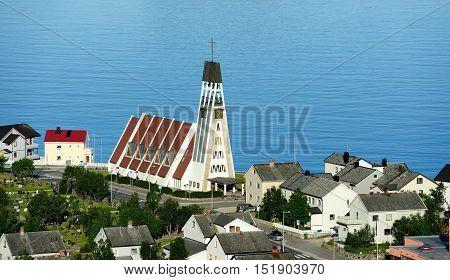 Hammerfest Church (Hammerfest kirke) is the main parish church in Hammerfest Municipality in Finnmark county Norway poster