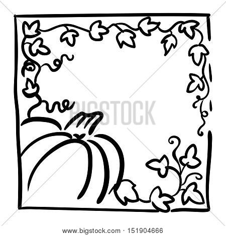 October 31 design element. Pumpkin, tendrils and large lobed leaves. Greeting or invitation card template, hand drawn sketchy illustration. Halloween party clip-art. Black and white, thick line sketch