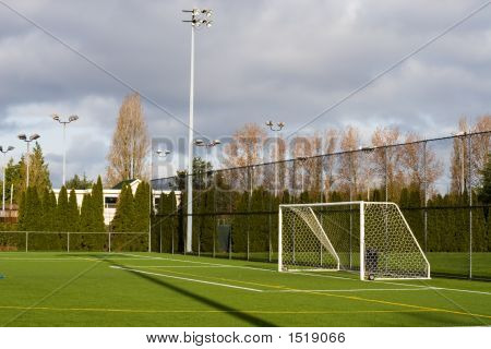 Soccer field with goal posts and light poles. poster