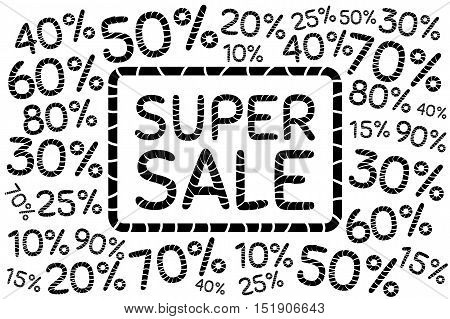 Super sale. Discount price off and sales design template. Shopping and low price symbols. 102030405060708090 percent sale. Vector illustration.