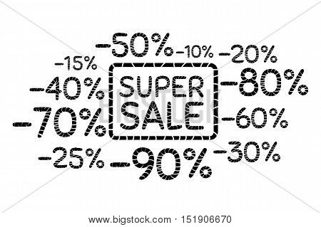 Super sale. Discount price off and sales design template. Shopping and low price symbols. Different percent sales. Vector illustration.