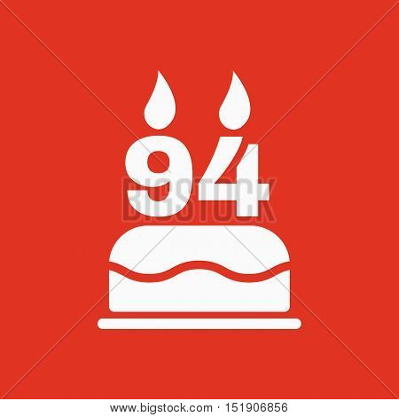 The birthday cake with candles in the form of number 94 icon. Birthday symbol. Flat Vector illustration