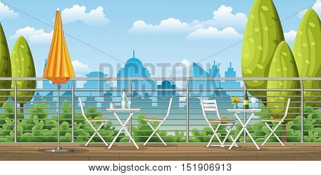Illustration of a balcony a terrace with tables and chairs