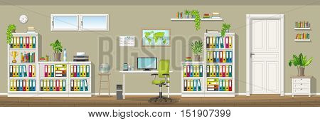 Illustration of a classic homeoffice, vector illustration