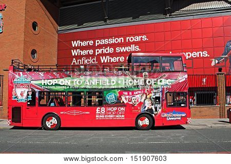 LIVERPOOL UK 17TH SEPTEMBER 2016. Liverppol Football Club Kop entrance with City Exporer Anfield Tour Bus