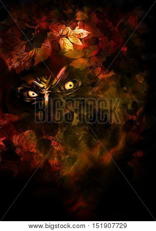 Illustration evil creature looking from the autumn leaves