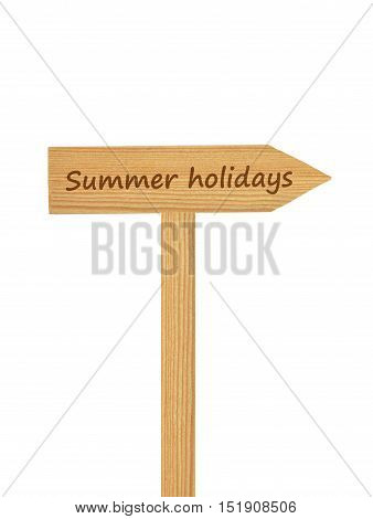 Colorful and crisp image of wooden direction arrow on timber needle