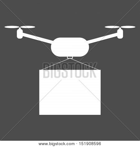 Simple drone delivery icon. Isolated vector illustration.