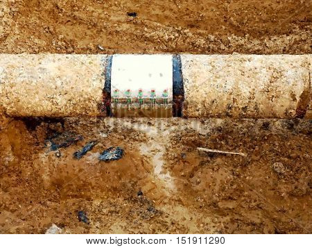 Watercolor paint effect. Excavation pit. Old drink water pipe with stainless repairing sleeve members. Finished repaired piping