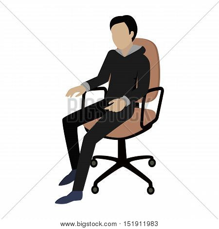 Man sitting on the chair and listening attentively to the speaker. Man at work. Endless work seven days a week. Working moments. Part of series of work at the office. Vector illustration