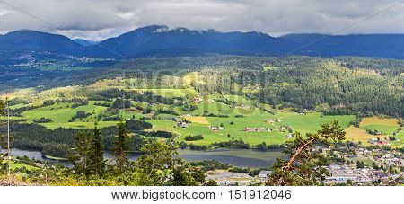 Arerial Panoramic View Of Voss, Hordaland, Norway