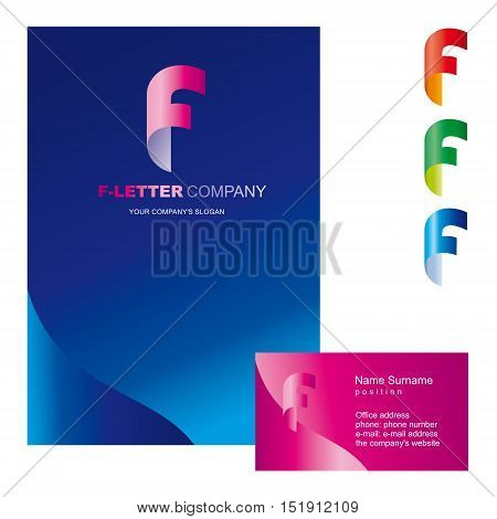 Template F brand name companies. Corporate identity for the company on the letter F: logo, business card, brochure cover or firm folders. Creative logo, body bent the letter F