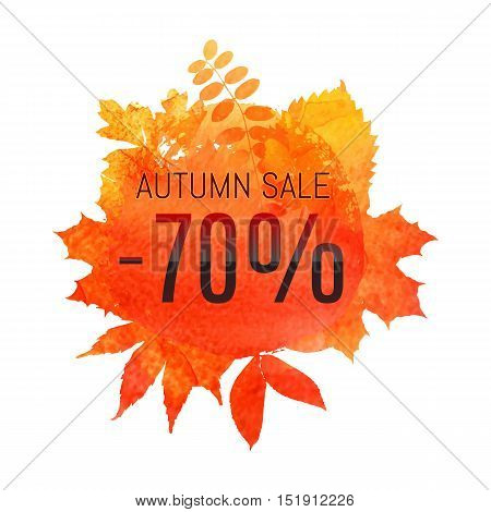 Autumn Leaf Foliage Watercolor. Autumn Sale - 70 % Off . Fall Sale. Web Banner Or Poster For E-comme