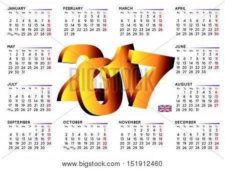 2017 Calendar In English Horizontal White Uk2