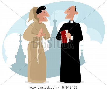 Vector illustration of a monk and priest