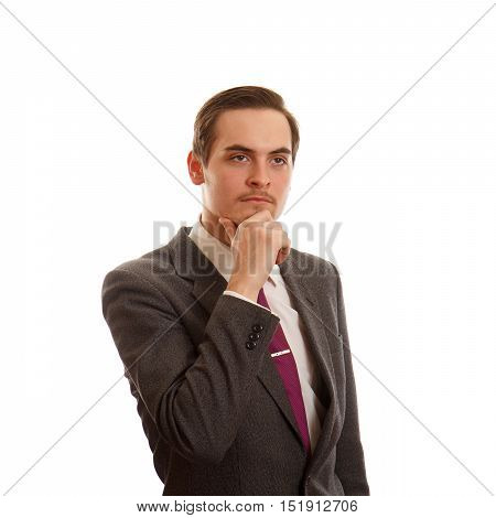 A man thinking while in a suit on white background