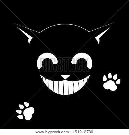 Black cat on a black background. Smiling