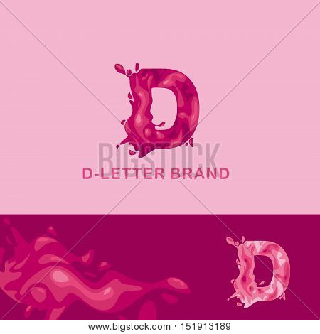 Template trade brand D  company. Corporate style for the letter D: logo, background. Creative logo, liquid letter D