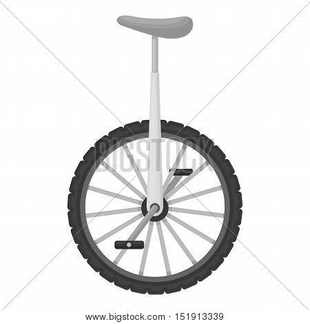 Monocycle icon in monochrome style isolated on white background. Circus symbol vector illustration.