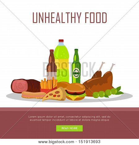 Unhealthy food banner isolated on white background. Junk food. Consumption of high-calorie nourishment fast food. Part of series of promotion healthy diet and good fit. Vector illustration