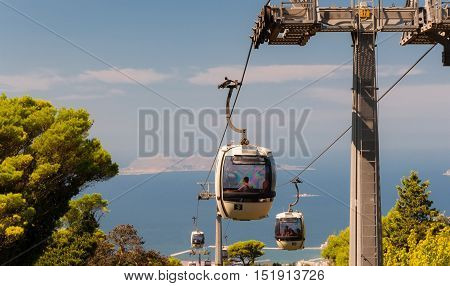 ERICE ITALY - SEPT 12 2015: Cable car from Trapani up to Erice in Sicily. Italy.