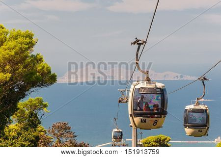 ERICE ITALY - SEPT 12 2015: Cable car from Trapani up to Erice in Sicily Italy.