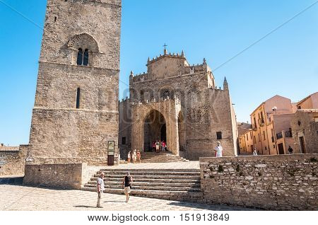 ERICE ITALY - SEPT 12 2015: View of the Main Cathedral of Erice province of Trapani in Sicily Italy.