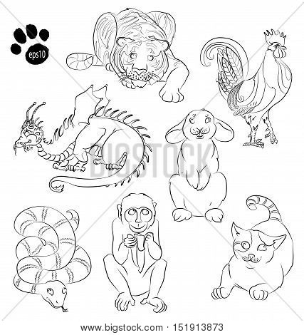cat dragon monkey rabbit snake tiger. For your convenience each significant element is in a separate layer. eps10