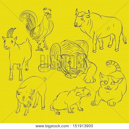 Seven Chinese calendar animals rooster cat pig rat goat tiger and ox. For your convenience each significant element is in a separate layer. eps10
