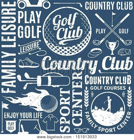 Retro Styled Typographic Vector Golf Seamless Pattern Or Background
