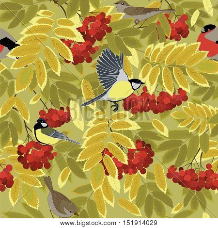 bird among autumn rowan branches seamless vector pattern