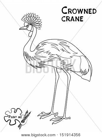 Children's coloring book that says Paint me. Crowned crane