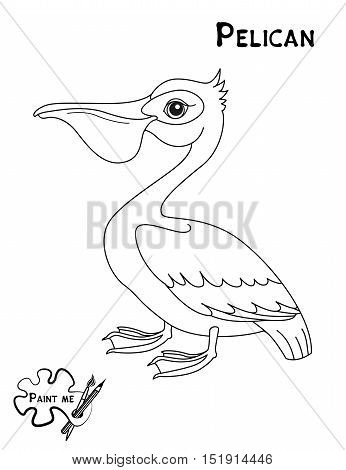Children's coloring book that says Paint me. Pelican