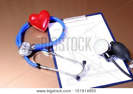 Rx Blank, Stethoscope And Heart Isolated On White Background