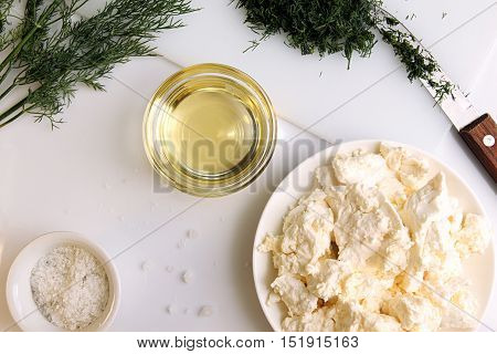 Appatizer. Cottage Cheese With Chopped Fennel And Olive Oil.