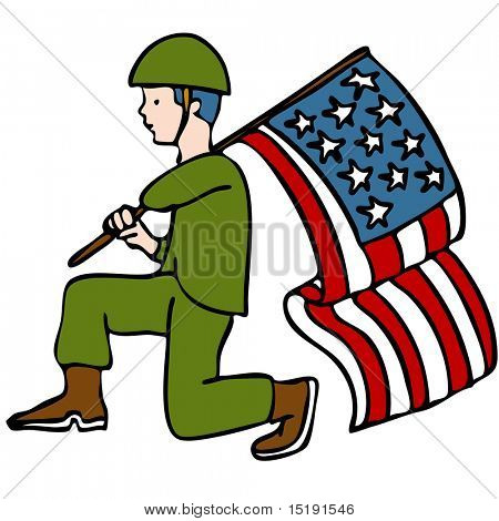 An image of a veteran soldier holding an American flag.