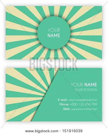 Bussines Card Template in Vintage Style. Vector illustration mint green and old yellow color vintage rays.