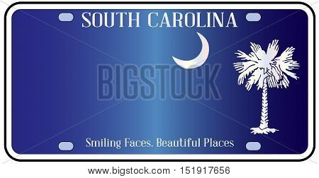 South Carolina state license plate in the colors of the state flag with icons over a white background