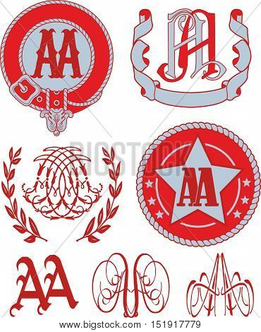 Set Of Aa Monograms And Emblem Templates